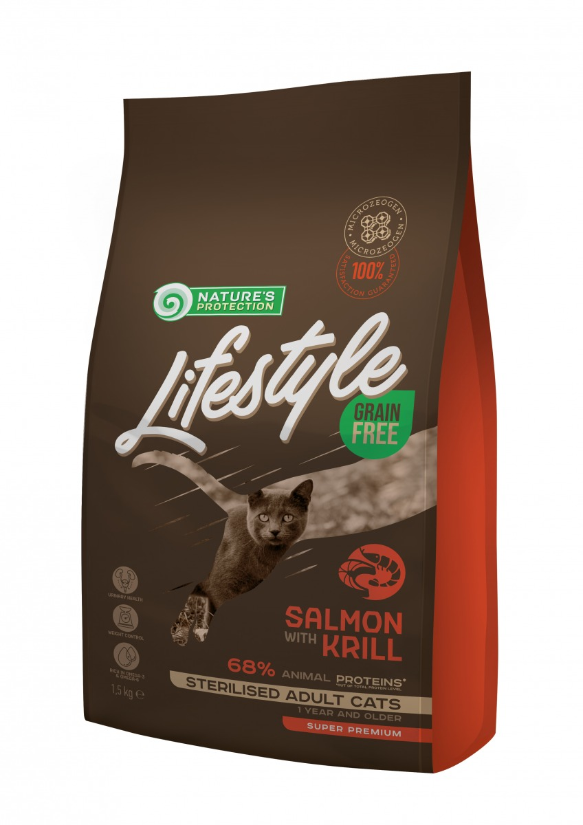 LIFESTYLE GRAIN FREE SALMON WITH KRILL STERILISED ADULT CAT